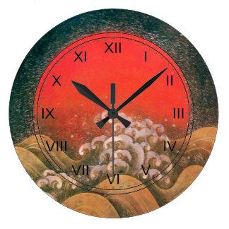AMATERASU ,SUN GODDESS red brown black Wall Clock