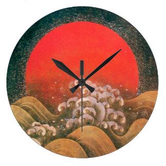 AMATERASU ,SUN GODDESS red brown black Large Clock