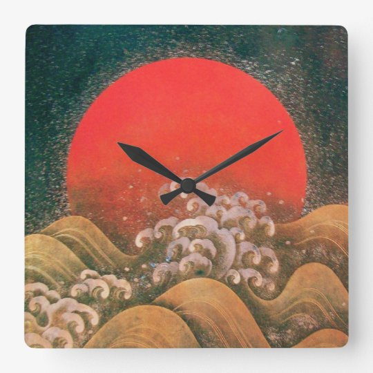 AMATERASU ,SUN GODDESS red brown black Square Wall Clock