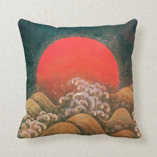 AMATERASU ,SUN GODDESS red,brown black Throw Pillow
