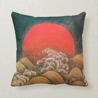 AMATERASU ,SUN GODDESS red,brown black Throw Pillow