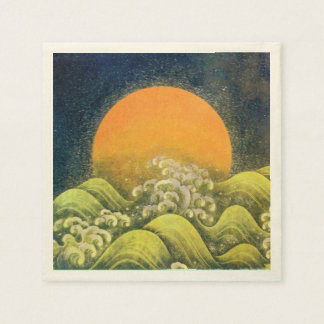AMATERASU SUN GODDESS Yellow Black Brown Paper Napkin