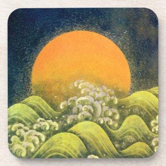 AMATERASU , SUN GODDESS ,yellow green black Beverage Coaster