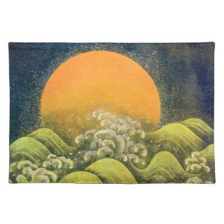 AMATERASU , SUN GODDESS ,yellow green black Cloth Placemat