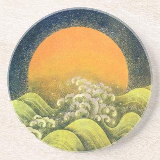 AMATERASU , SUN GODDESS ,yellow green black Drink Coaster