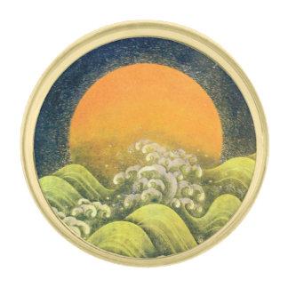 AMATERASU, SUN GODDESS yellow green black Gold Finish Lapel Pin