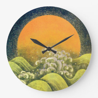 AMATERASU ,SUN GODDESS yellow green black Large Clock