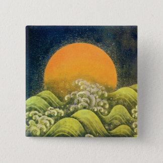 AMATERASU , SUN GODDESS , yellow green black Pinback Button