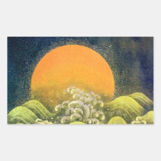 AMATERASU , SUN GODDESS ,yellow green black Rectangular Sticker