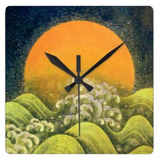 AMATERASU ,SUN GODDESS yellow green black Square Wall Clock