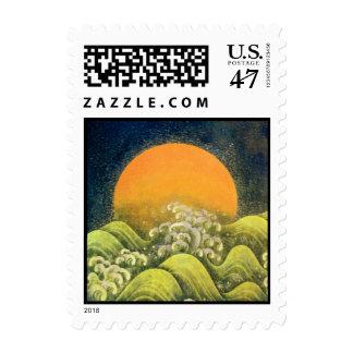 AMATERASU , SUN GODDESS ,yellow green black Stamp