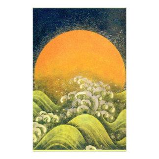 AMATERASU , SUN GODDESS , yellow green black Customized Stationery