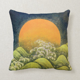 AMATERASU SUN GODDESS  yellow green, black Throw Pillow