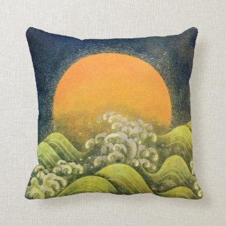 AMATERASU SUN GODDESS  yellow green, black Throw Pillow