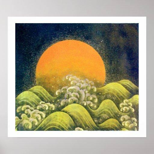 AMATERASU , SUN GODDESS ,yellow green black white Print