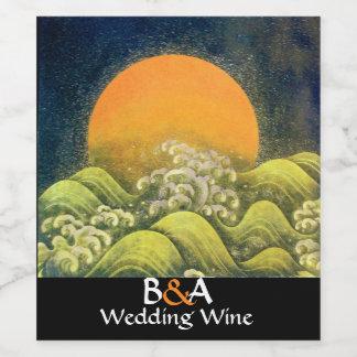 AMATERASU,SUN GODDESS Yellow White Wedding Wine Label