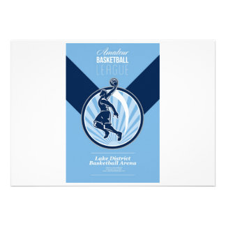 Amateur Basketball League Retro Poster Personalised Invitation