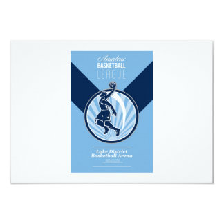 Amateur Basketball League Retro Poster Custom Invitations
