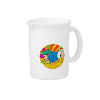 Amateur Boxer Hit By Glove Punch Oval Drawing Beverage Pitcher