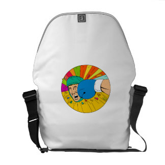 Amateur Boxer Hit By Glove Punch Oval Drawing Messenger Bag