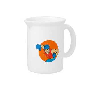 Amateur Boxer Overhead Punch Circle Drawing Beverage Pitcher