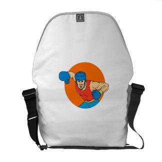 Amateur Boxer Overhead Punch Circle Drawing Messenger Bag