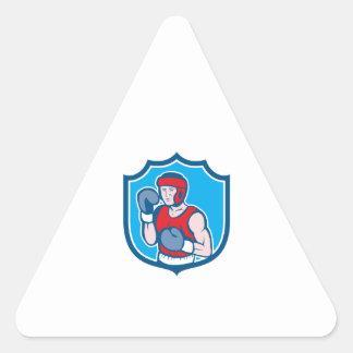 Amateur Boxer Stance Shield Cartoon Sticker