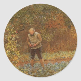 Amateur (Coachman & Cabbages) by Frederick Walker Classic Round Sticker
