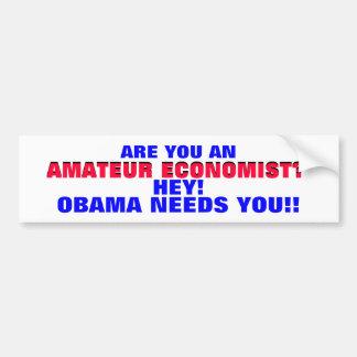 AMATEUR ECONOMIST??  HEY! ..OBAMA NEEDS YOU! BUMPER STICKER