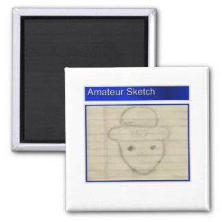 Amateur Leprechaun Sketch 2 Inch Square Magnet