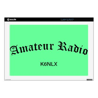 """Amateur Radio and Call Sign 17"""" Laptop Skin"""