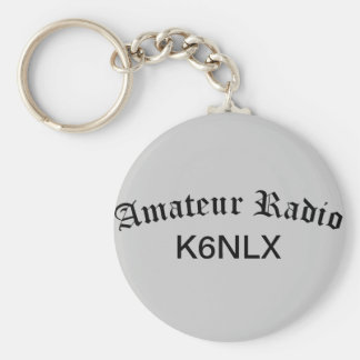 Amateur Radio and Call Sign Basic Round Button Keychain