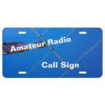 Amateur Radio Angled Antenna and Call Sign License Plate
