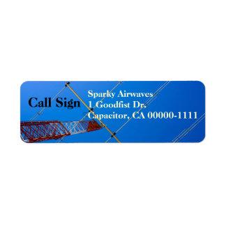 Amateur Radio Beam Antenna Return Address Label