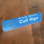 Amateur Radio Call Sign and Antenna 2 blue bg Desk Nameplates
