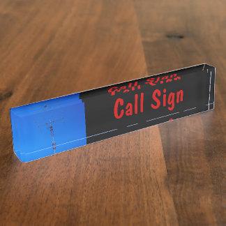 Amateur Radio Call Sign and Antenna 3 black bg Name Plate