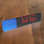 Amateur Radio Call Sign and Antenna 3 black bg Desk Nameplates