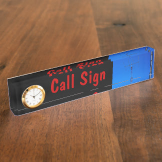 Amateur Radio Call Sign and Antenna 3 & Clock Desk Name Plate