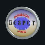 """Amateur Radio Operator belt buckle<br><div class=""""desc"""">Customize this slick looking buckle with your own call sign. don&#39;t like the font? you can change it to fit your tastes. 73 de Gary,  K8JCR.</div>"""