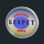 "Amateur Radio Operator belt buckle<br><div class=""desc"">Customize this slick looking buckle with your own call sign. don&#39;t like the font? you can change it to fit your tastes. 73 de Gary,  K8JCR.</div>"