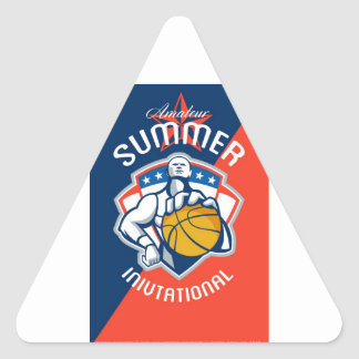 Amateur Summer Invitational Basketball Poster Triangle Stickers