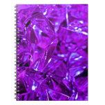 Amatista cristalina de la piedra preciosa púrpura libros de apuntes con espiral