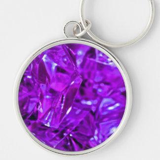 Amatista cristalina de la piedra preciosa púrpura llavero redondo plateado