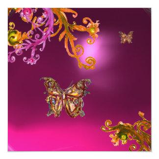 """AMATISTA de la MARIPOSA, marrón amarillo rosado Invitación 5.25"""" X 5.25"""""""