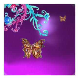 """AMATISTA de la MARIPOSA, rosado brillante azul Invitación 5.25"""" X 5.25"""""""