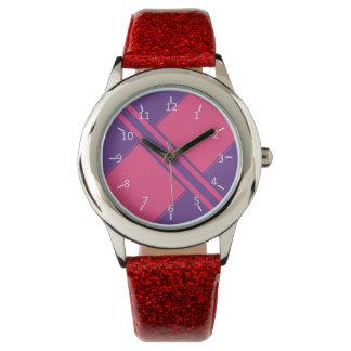 Amatista y rosas fuertes reloj de mano