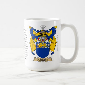 Amato, the Origin, the Meaning and the Crest Classic White Coffee Mug