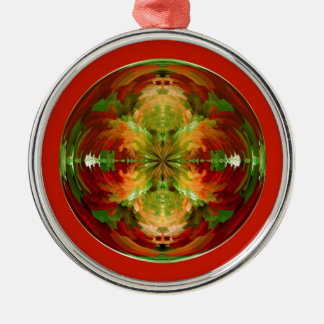 Amazed on red Silver-Colored round decoration