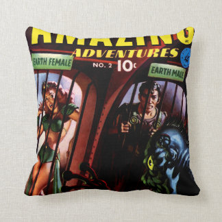 Amazing Adventures #2 Retro Sci Fi Comic Book Throw Pillow