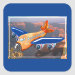Amazing Airplane Aerial View Square Sticker
